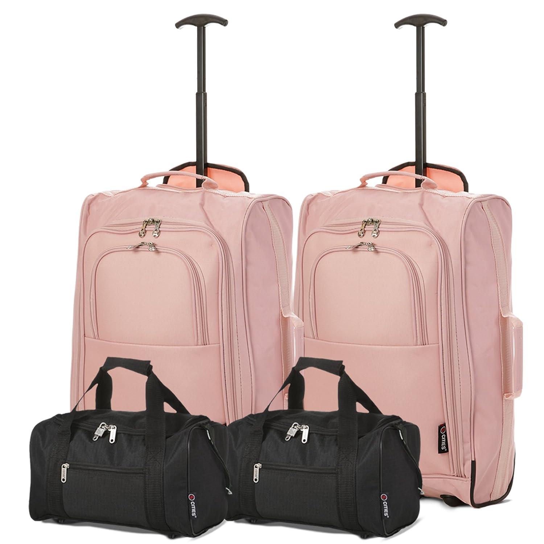 Satz von 4 Ryanair Handgepäck 35x20x20cm & 55x40x20 Trolley Kofferset - Nehmen Sie beide mit! (Grün/Schwarz)