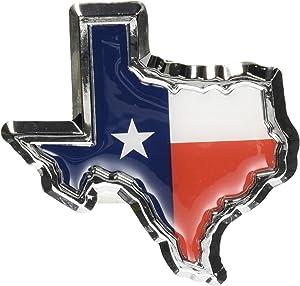 Texas Flag in Shape of Texas Chrome Metal Auto Emblem