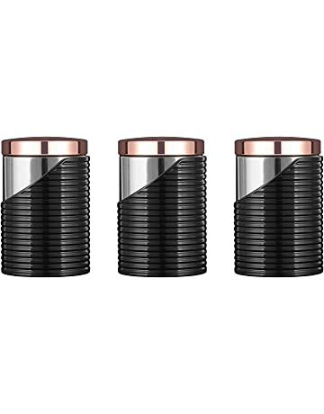 a3069dfc2260d2 Tower Linear Set of 3 Canisters, Stainless-Steel, 11.6 x 11.6 x 17
