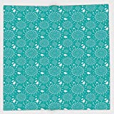 Cotton Microfiber Hand Towel,Turquoise,Blossoming Nature Theme Swirls Vortex Leaves Stalks and Dots Vintage Pattern Decorative,Turquoise White,for Kids, Teens, and Adults,One Side Printing