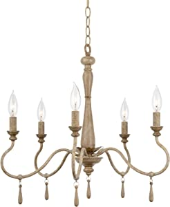 """Kira Home Roma 22"""" 5-Light French Country Chandelier, Adjustable Height, Smoked Birch Style Wood Finish"""