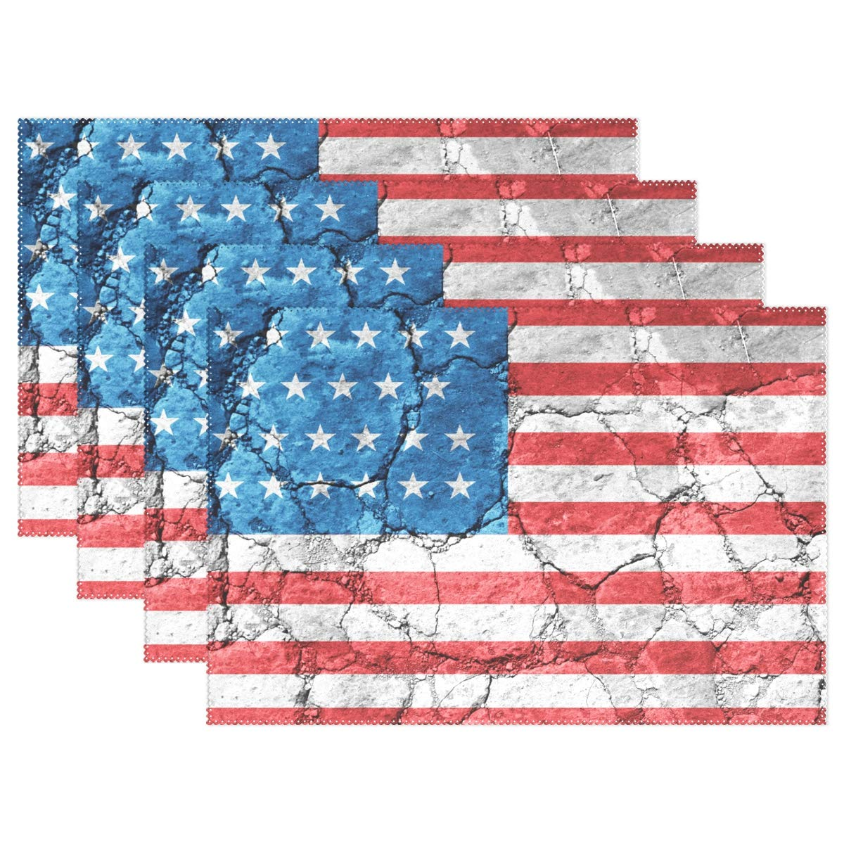 baihuishop United States of America Flag Placemats Heat-Resistant Washable Table Mats 12 X 18 Inch Placemats for Family Kitchen Hotel Coffee Shop Dinning Restaurant Set of 6