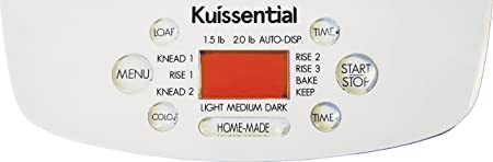 Kuissential Bread Maker control panel