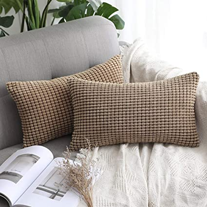 MUILEE Pack of 2 Corduroy Soft Soild Decorative Square Throw Pillow Covers Set Cushion Case for Sofa Bedroom Car 12 x 20 Inch 30 x 50 cm
