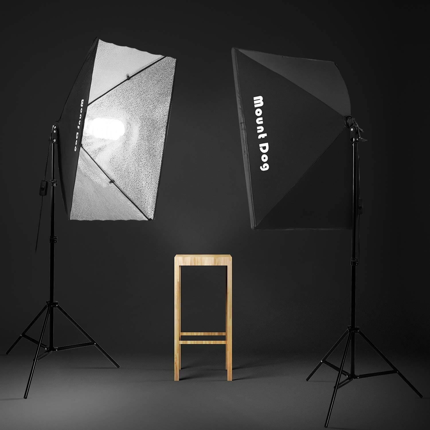 MOUNTDOG 1350W Photography Softbox Lighting Kit 20''X28'' Professional Continuous Light System with 3pcs E27 Video Bulbs 5500K Photo Studio Equipment for Filming Model Portraits Advertising Shooting by MOUNTDOG (Image #4)