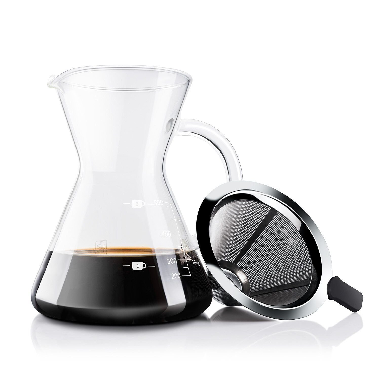 Own Sea 500ml Pour Over Coffee Maker - Borosilicate Glass Carafe with Handle and Reusable Double Layer Stainless Steel Cone Filter
