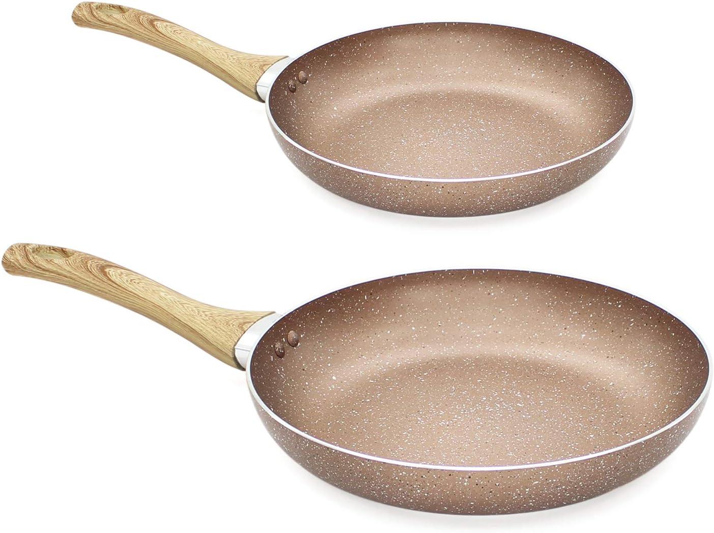 Rose Gold Frying Pan 2 Piece Set Carbon Steel Nonstick Cooking Bakelite Cookware