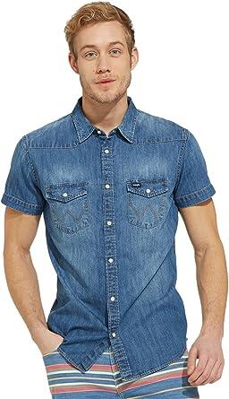 Wrangler Western Shirt W5966O6 Camisa de los Pantalones Vaqueros, Azul (Used Indigo Te), Medium para Hombre: Amazon.es: Ropa y accesorios