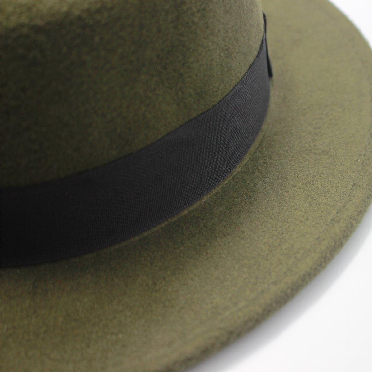 Norboe NE Womens Brim Fedora Wool Flat Top Hat Church Derby Bowknot Cap