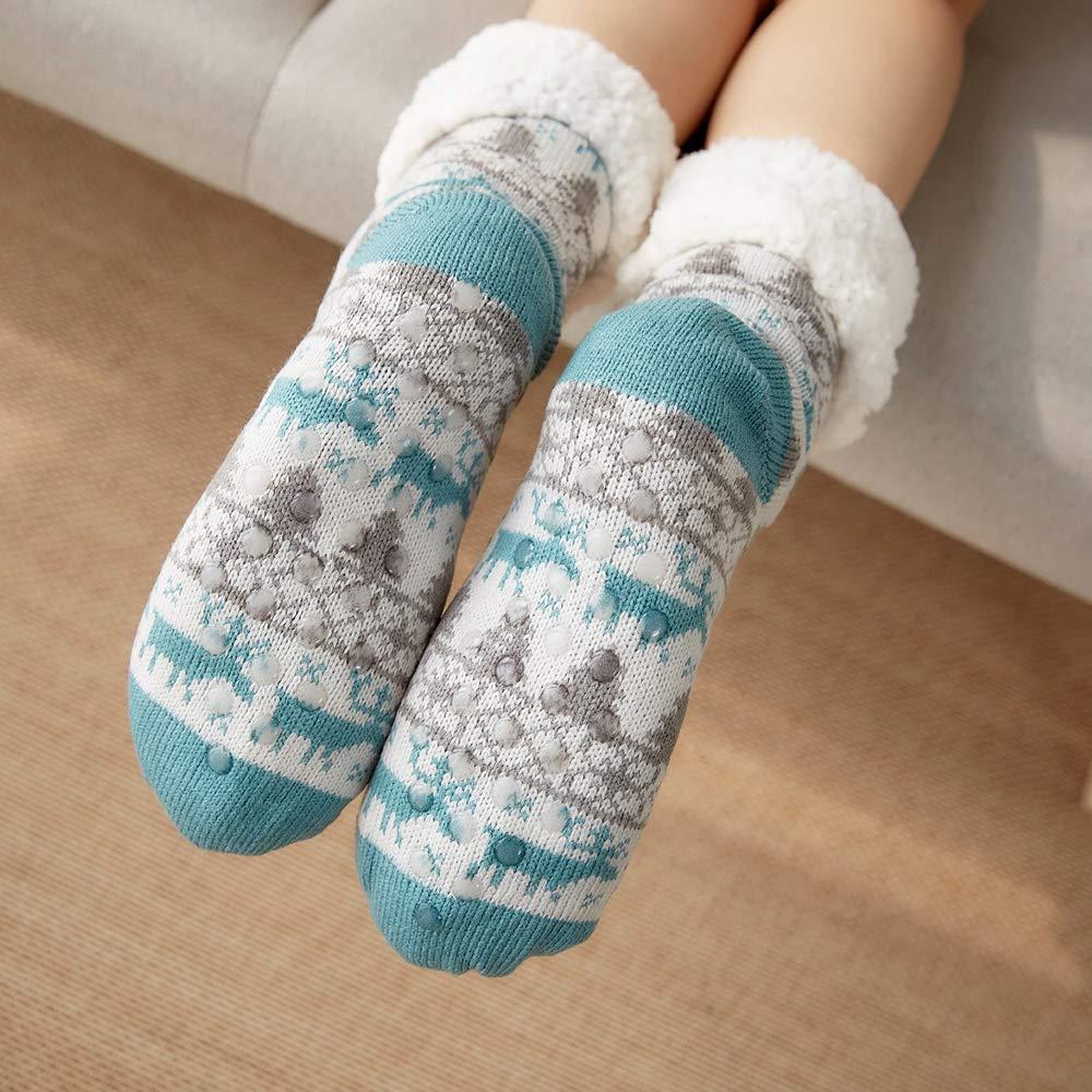 4YOUALL Womens Fleece Lining Soft Warm Fuzzy Sock, Christmas Thermal Knee High Stockings Slipper Socks (Lake Blue Deer)