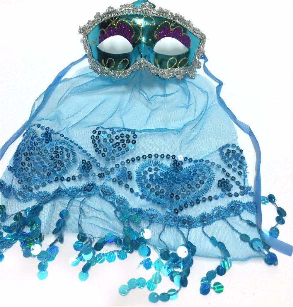PromMask Mascara Facial Careta Protector de Cara dominó Frente Falso Halloween Maquillaje Danza Fiesta Anual máscara enmascarada Velada Azul