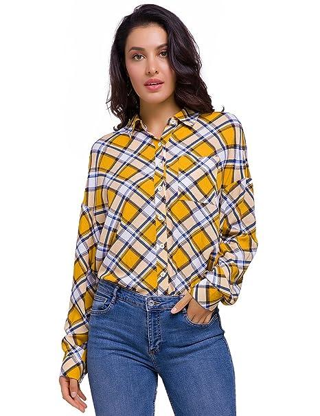 9be58698 talever Women Long Sleeve Button Down Shirt Top Blouse Buffalo Plaid Shirts  Red Yellow