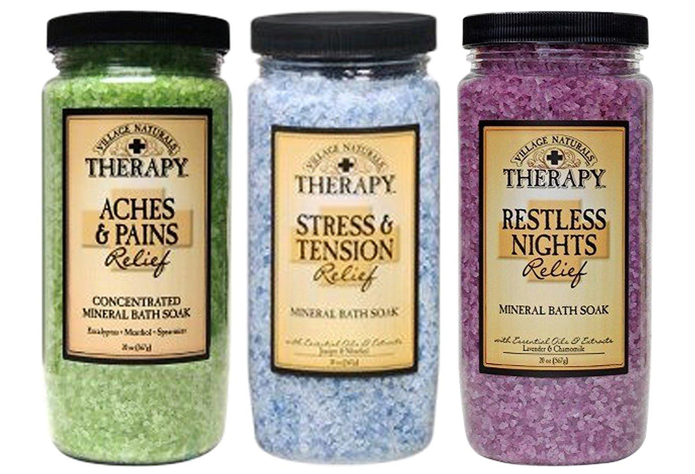 Village Naturals Therapy Mineral Bath Soak Variety Set 3 Pack - Restless Nights, Aches & Pain, Stress & Tension (20oz Jars)