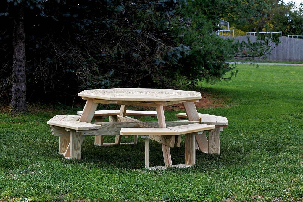 5 Ft Pressure Treated Pine Octagon Picnic Table - White Paint