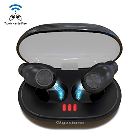 Gigastone True Wireless Bluetooth Earbuds Bluetooth 5.0 Long Hours Playtime Quality Stereo Sound Stable Automatic Connection in-Ear Earphones Built-in Microphone IPX5 Waterproof Sport Portable Light