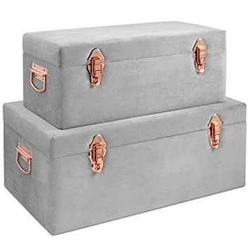 Cool Beautify Set Of 2 Grey Velvet Storage Trunks Chests Box Case For Bedroom Living Room Grey Rose Gold With Handles Download Free Architecture Designs Itiscsunscenecom