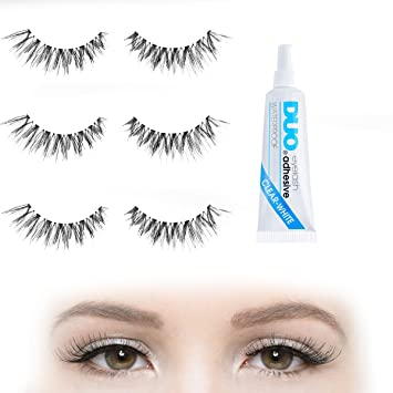 7f12fefc051 Natural Human Fully Subtle Fake Eyelashes Set with Duo Clear Glue | 6 X  Strip Wispies