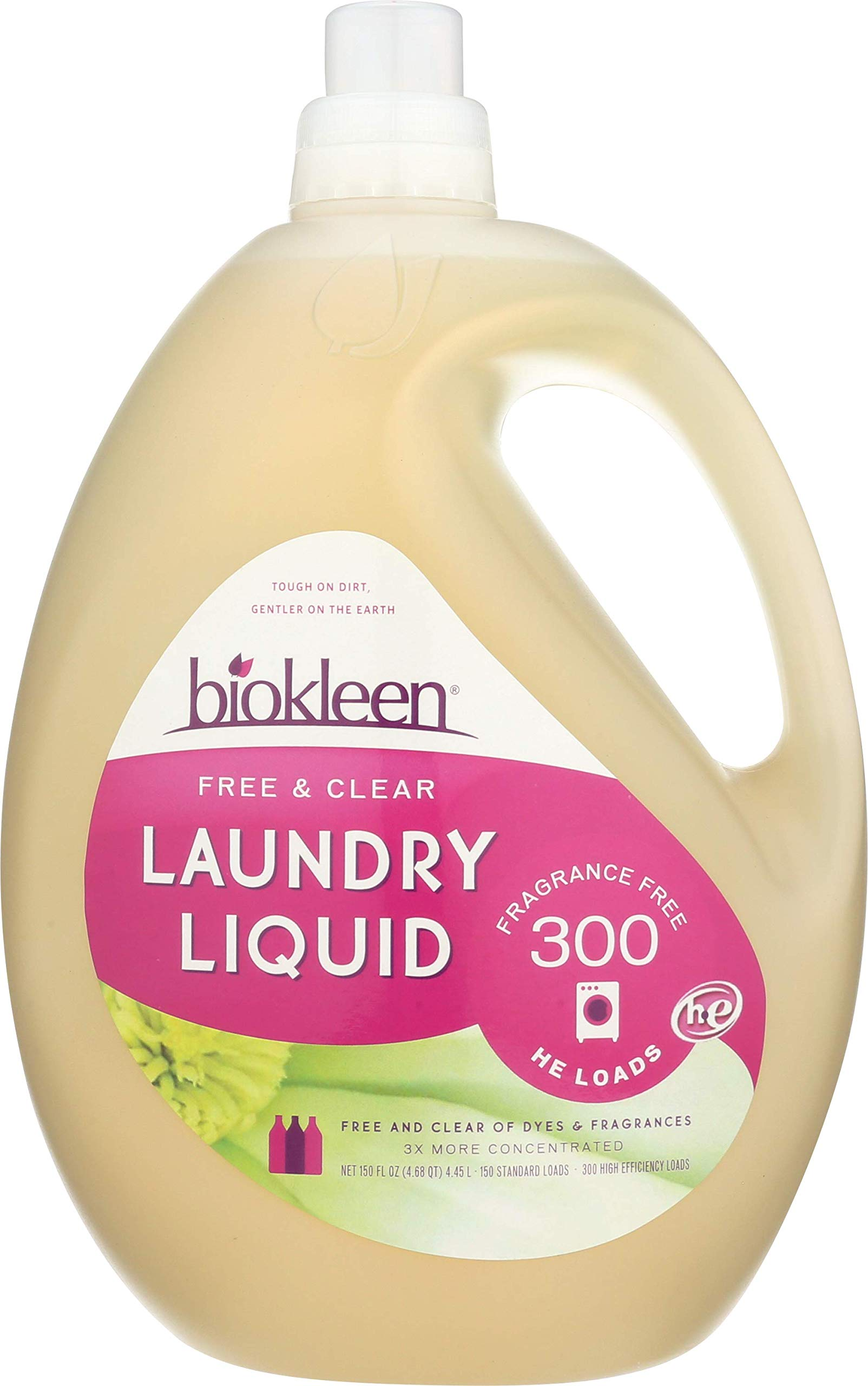 Biokleen Laundry Detergent Liquid, Concentrated, Eco-Friendly, Non-Toxic, Plant-Based, No Artificial Fragrance, Free & Clear, Unscented, 150 Ounces - 300 HE Loads/150 Standard Loads (Pack of 3)
