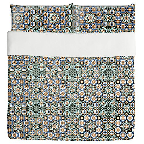 Moroccan Splendor Duvet Bed Set 3 Piece Set Duvet Cover - 2 Pillow Shams - Luxury Microfiber, Soft, Breathable by uneekee