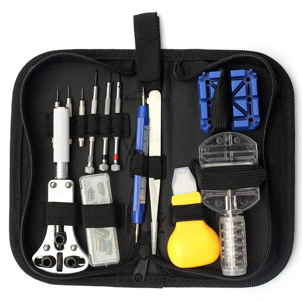 iBaste_S 13Pcs Watch Repair Tool Kit Set Professional Back Case Holder Opener Hammer Link Remover Spring Bar Watchmaker Tool Kit with Carrying Bag