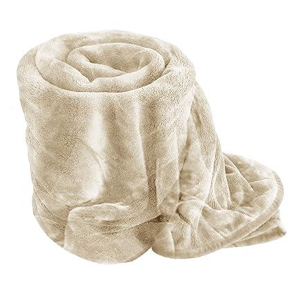 LUXURY FAUX FUR BLANKET BED THROW SOFA SOFT WARM FLEECE THROW SINGLE DOUBLE  KING Cream 8ebd6e934