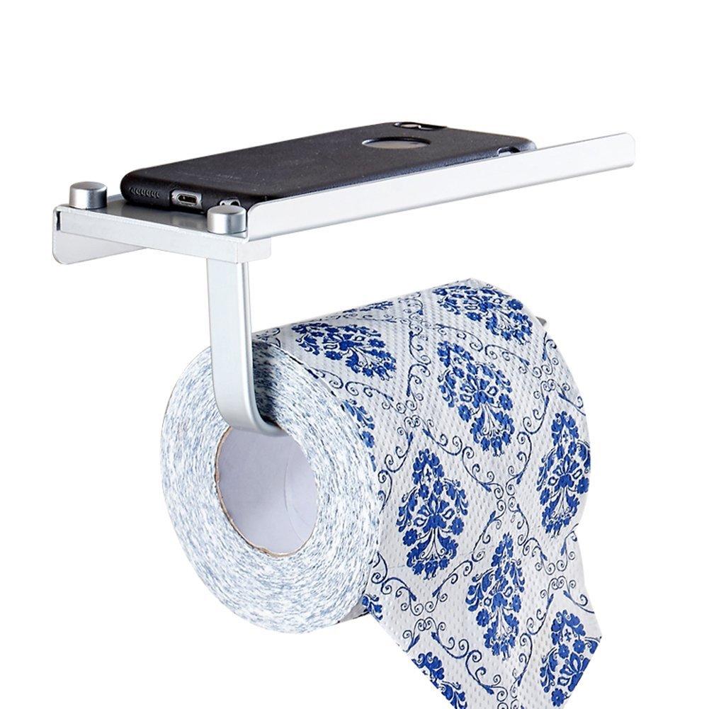 Q&F Toilet Paper Holder,Anti-rust Aluminum Toilet Tissue Dispenser With Utility Shelf Wall Mounted Tissue Holder For Bathroom