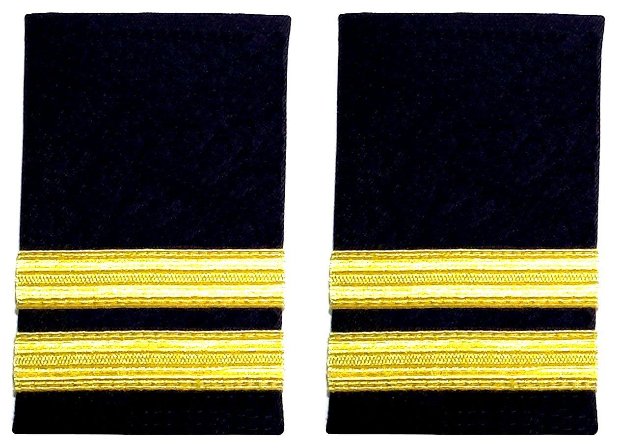Coppia di spalline nere a doppia fascia motivo strisce dorate per piloti di linea o per la marina mercantile