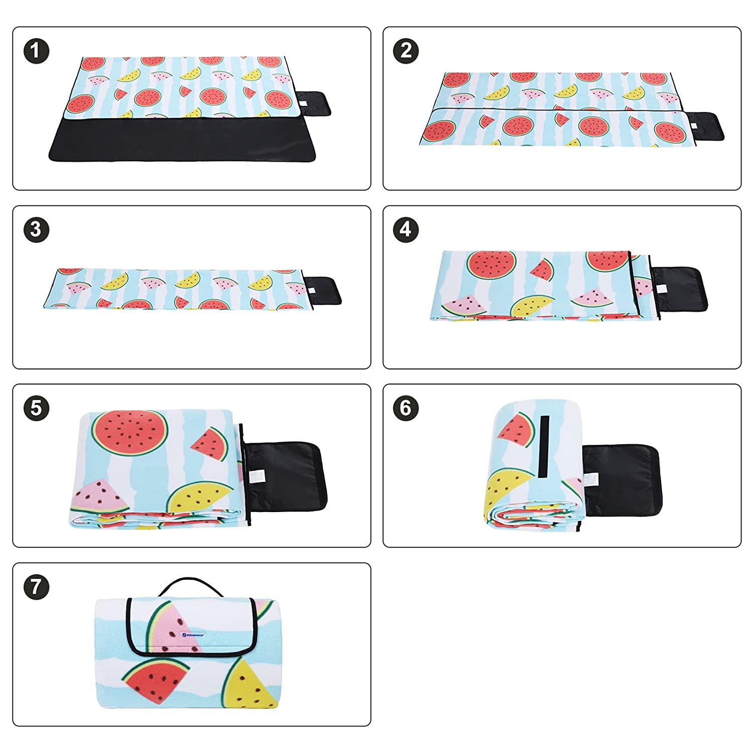 SONGMICS Waterproof Picnic Blanket Extra Large 79 x 79 Outdoor Blanket with Handle UGCM70YR