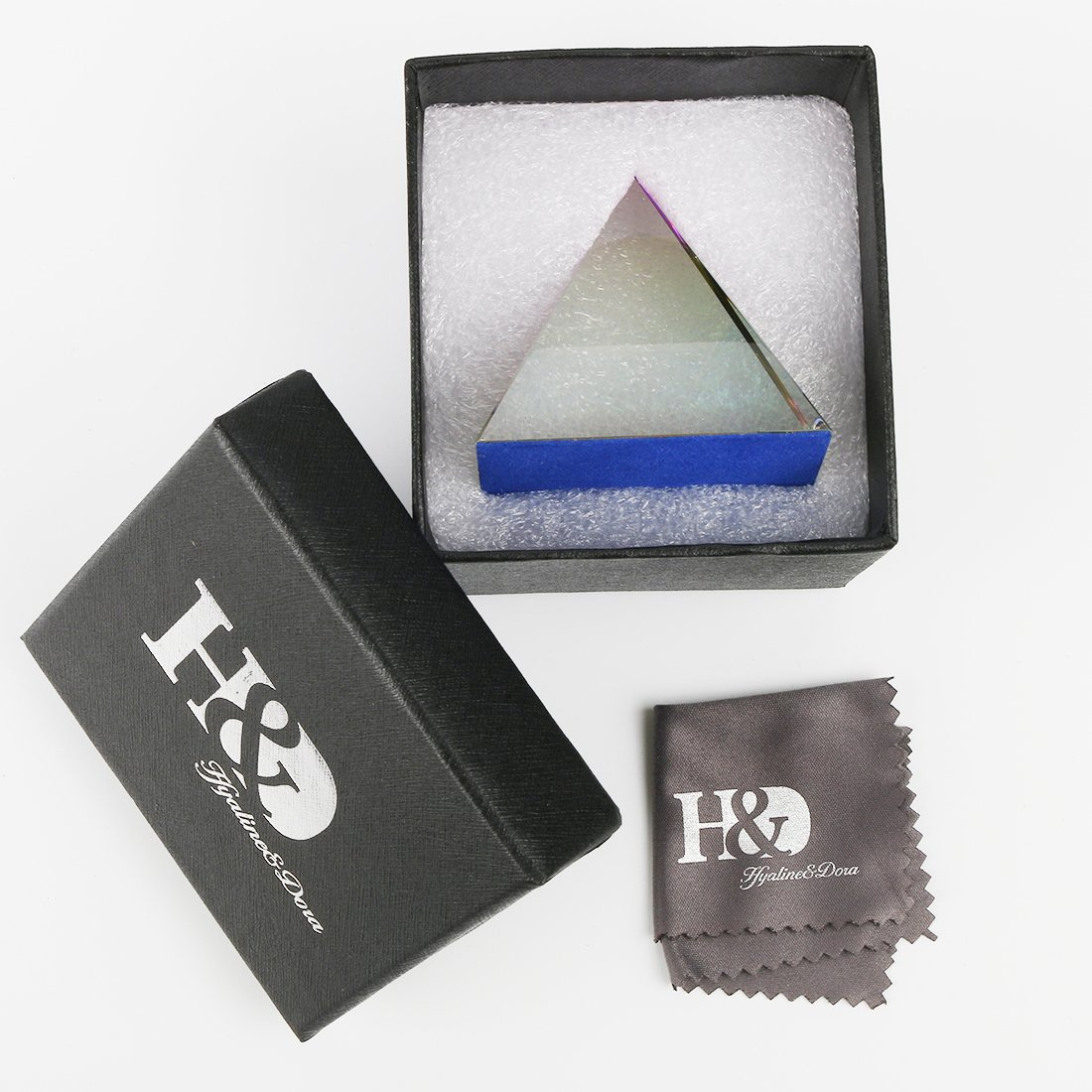 H/&D Crystal Iridescent Pyramid Rainbow Colors with Gift Box 2.4-Inch