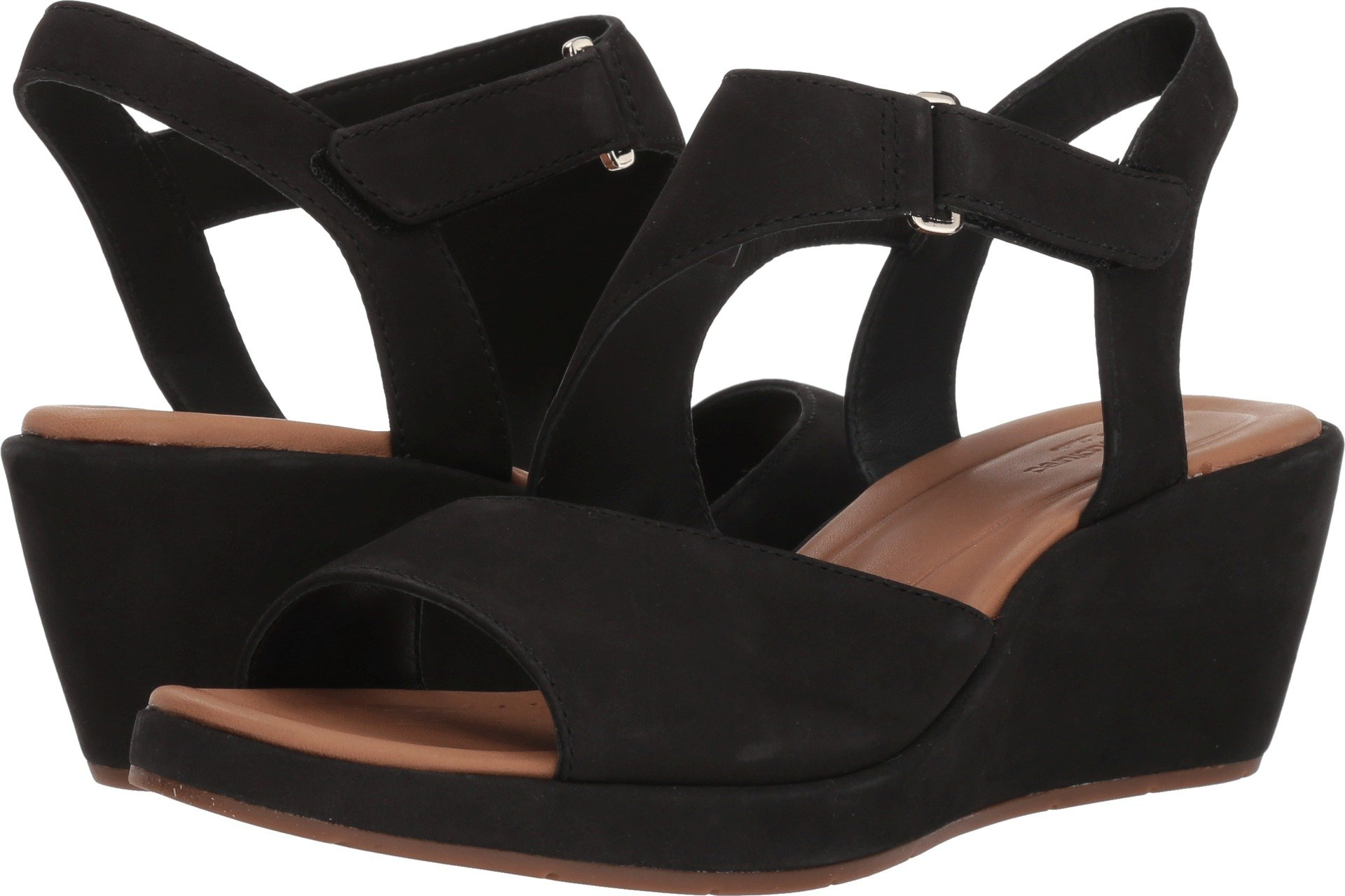 CLARKS Unstructured by Women's Un Plaza Sling Wedge Sandal Black 7 M US by CLARKS