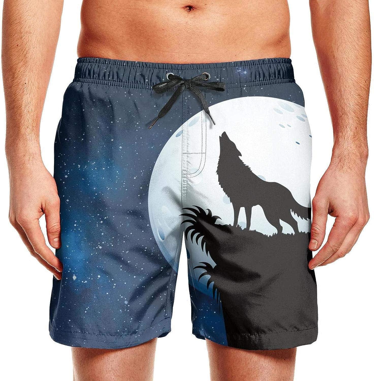 Deer On Galaxy Mens Swim Trunks Board Beachwear Casual Beach Shorts for Men with Mesh Lining