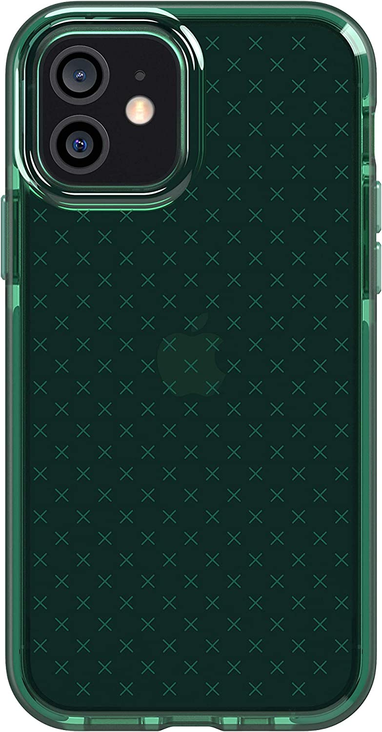 tech21 Evo Check Phone Case for Apple iPhone 12 and 12 Pro 5G with 12 ft Drop Protection, Midnight Green