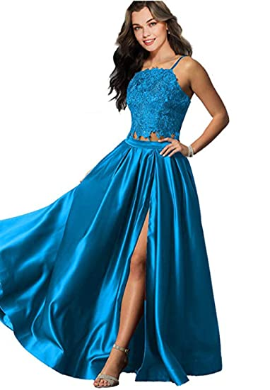 c02b6f0888ad8 Amazon.com: HerDress Womens Two Piece Prom Dresses Long with Slit ...