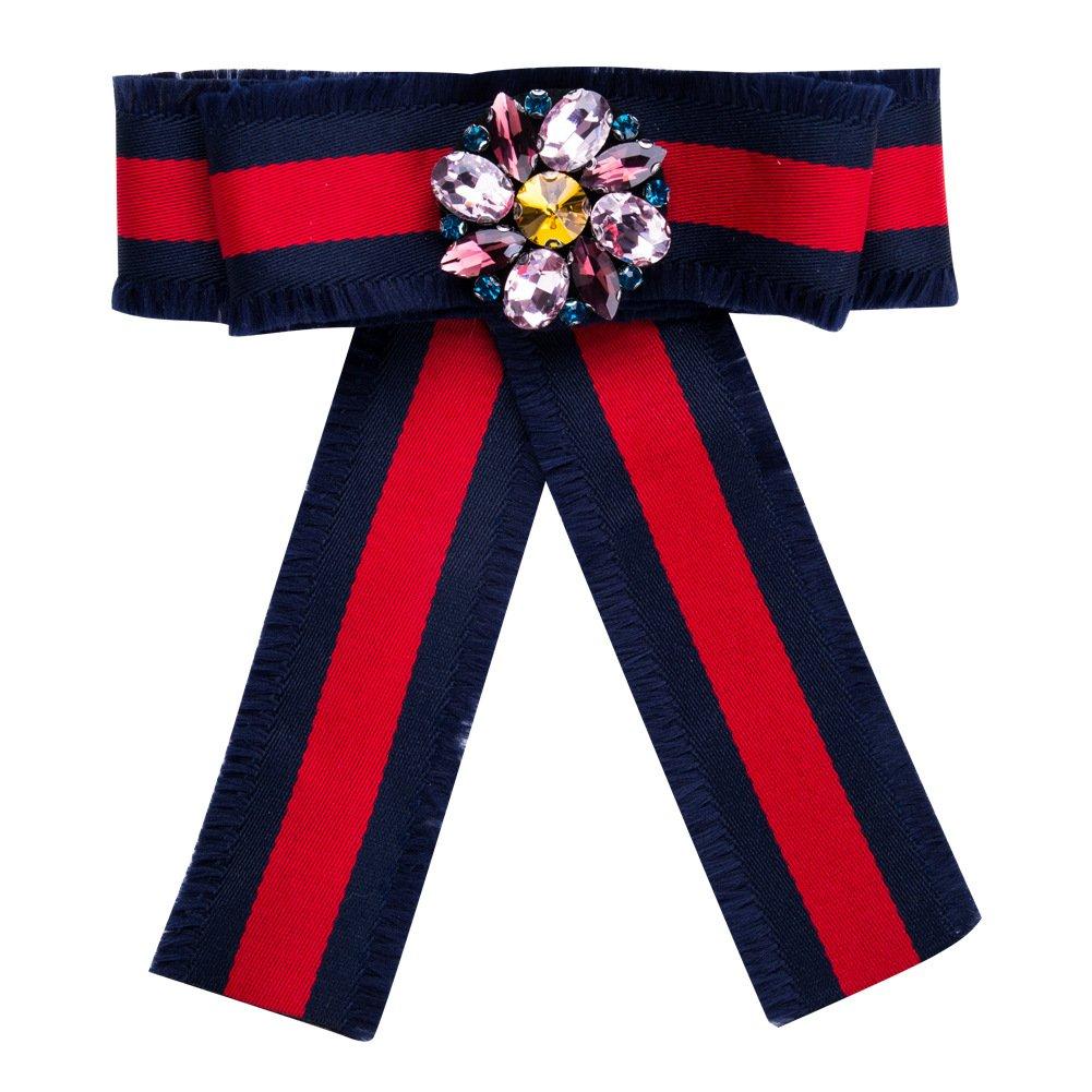 Bling Bling Women Grosgrain Flower Pre Bow Pin Tie Stripe Brooch Pin Necktie Bowties Breastpin Jewelry For Wedding Party