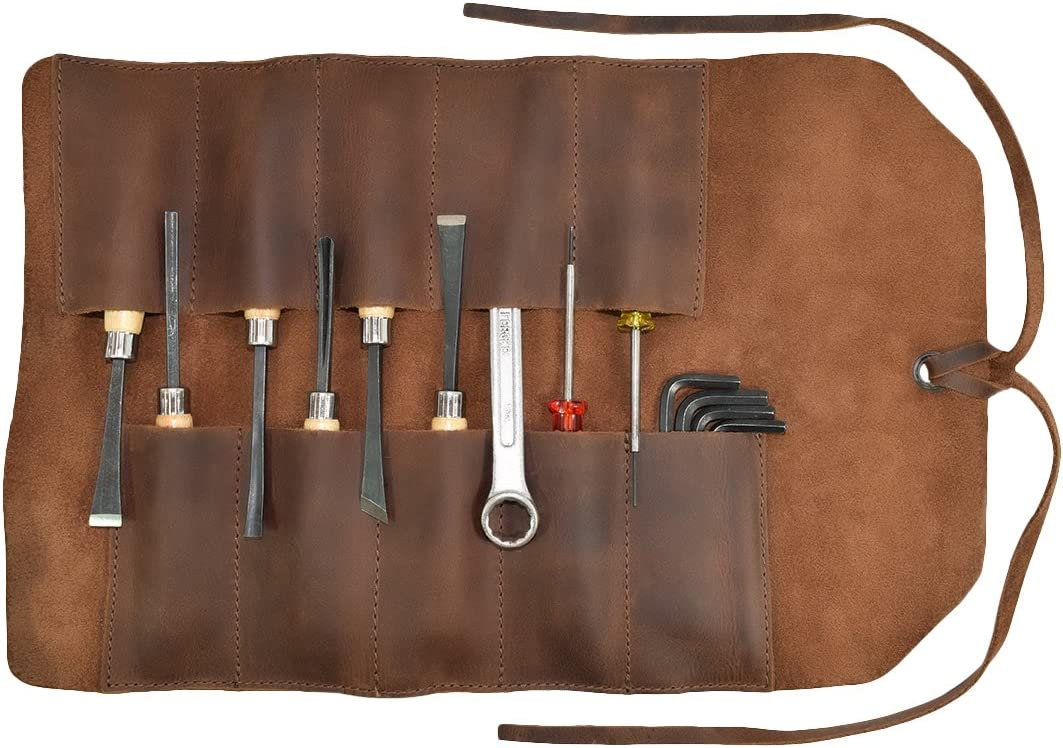 Hide Drink, Rustic Leather Small Tool Roll Up Bag 10 Slots , Portable Carry On Pouch, Workshop Storage, Woodworking Tools Organizer, Vintage, Handmade Includes 101 Year Warranty Bourbon Brown