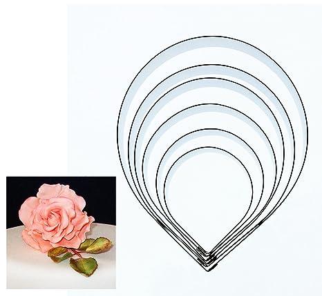 Diseño de figuras y pastel moldes cortadores - 6 pétalos de rosa para diseño de flores