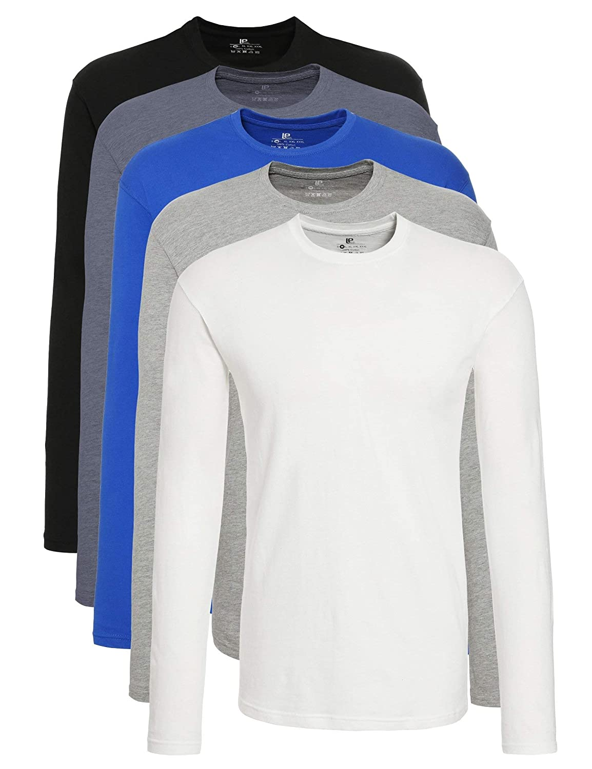 Lower East Men's Round Neck Long Sleeve Top, Pack of 5