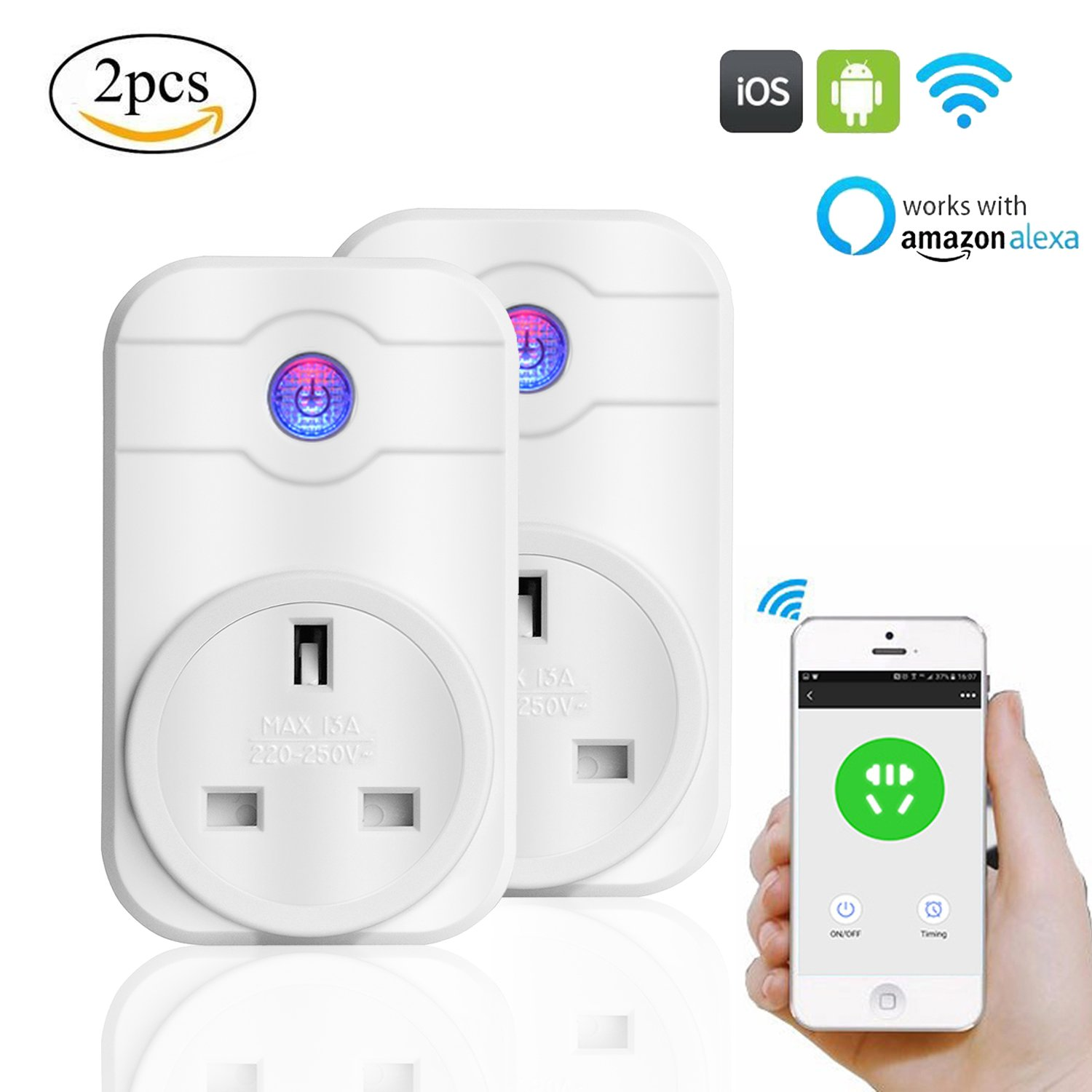 Wi-Fi Smart Plug Alexa 2 Pack, Windy5 Remote Control with Timing Scene Settings FunctionNo Hub Required Smart Socket Plug Timer Switch Working with  Alexa Echo for IPhone IPad Android