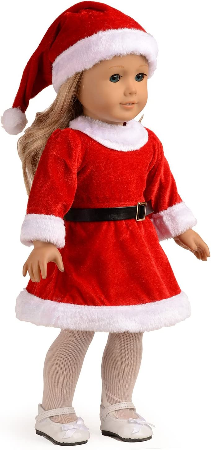 3pcs Doll Clothes Christmas Dress Outfit For 18/'/' Inch American Girl Xmas Gift