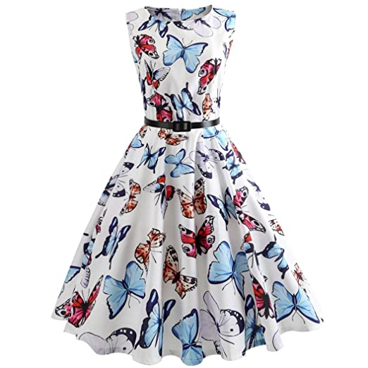 15e48f25e18ab vmree Women Vintage 1950's Audrey Hepburn Style Dress Butterfly ...