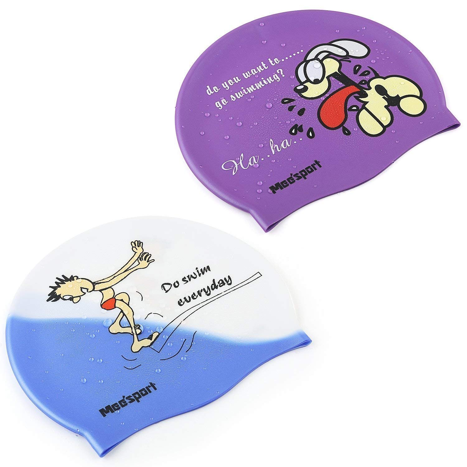 Meesport Swimming Cap for Kids High Elastic Silicone Waterproof Swim Bath Cap,Lovely Cute Cartoon Style Swim Hat for Children Boys and Girls