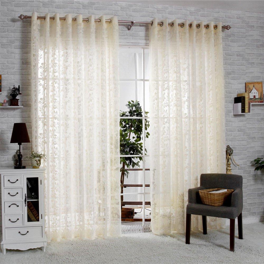 R.LANG Solid Grommet Top Fashions sheer Jacquard Curtain 1 Pair Beige 46W X 54 L Ltd