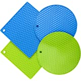Silicone Trivet Mats Set of 4, Silicone Pot Holders Drying Mat, Heat Resistant Coasters, Non Slip Hot Pads for Cooking and Kitchen (2 Squared + 2 Round)