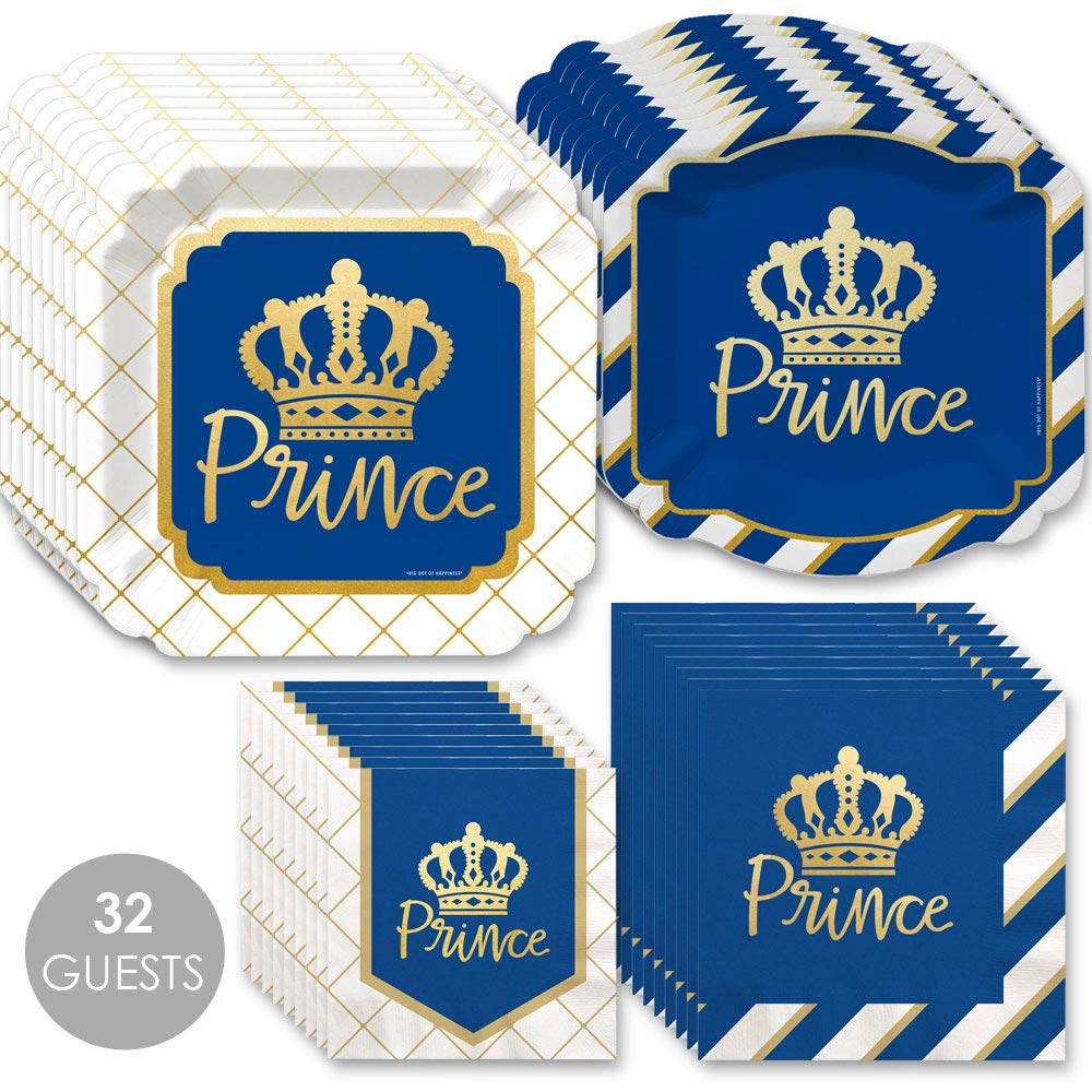 Royal Prince Charming with Gold Foil - Baby Shower or Birthday Party Tableware Plates and Napkins - Bundle for 32