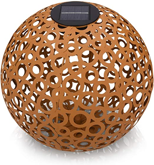 Navaris Farol Solar de jardín - Bola de jardín para Exteriores de 30CM con luz LED cálida y Encendido automático - Esfera Decorativa Color Cobre: Amazon.es: Jardín