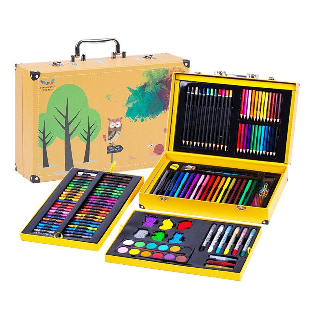 ドローイングセット カラーペン 子供用ブラシ 158ピースセット ペイントツール ペイントセット 水彩鉛筆 色鉛筆 ワックスアート用品 アーティストペン B07MFTZ7GR