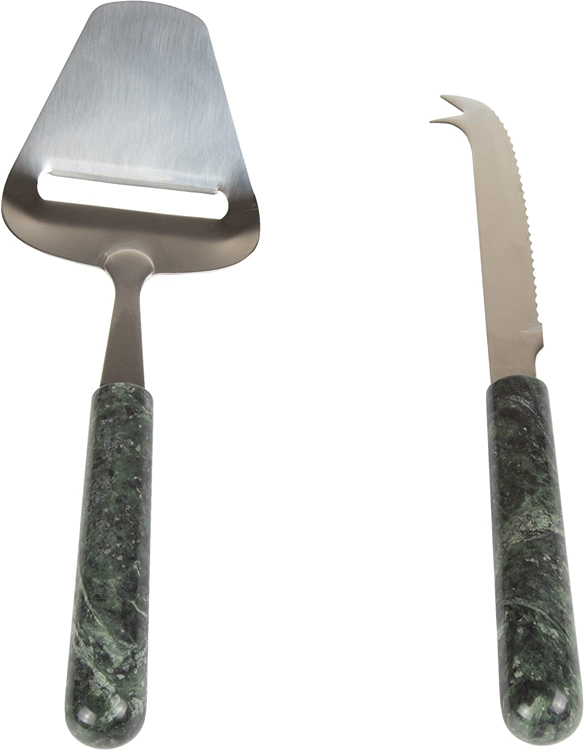 Creative Home Genuine Green Marble Stone 2 Piece Serving Set, Stainless Steel Cutter Slicer and Cheese Knife