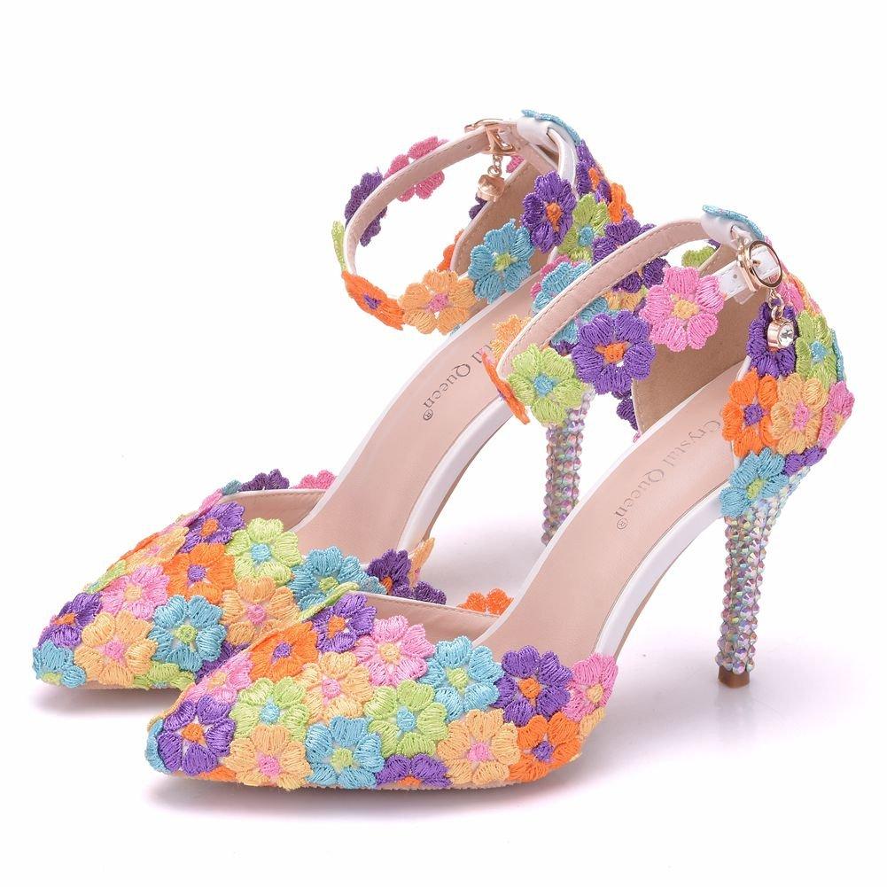 Zapatos de Mujer 9cm Fina con Sandalias Señaló Coloridos Rhinestone Sandalias de Encaje 39 EU|Seven Colors