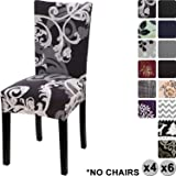 YISUN Modern Stretch Dining Chair Covers Removable Washable Spandex Slipcovers for High Chairs 4/6 PCs Chair Protective Covers (Dark Brown/Flower Pattern, 4 PCS)