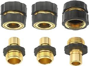 3Sets (6pcs) Aluminum Garden Hose Quick Connector - Water Hoses Quik Connect Release